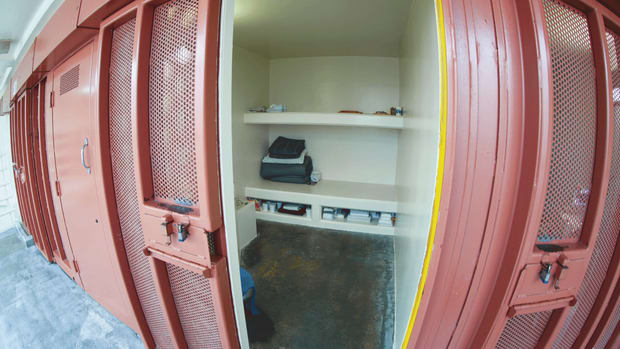 The interior of a cell at the Security Housing Unit of Pelican Bay State Prison, the notorious maximum-security site in Crescent City, California, for top-level prisoners.