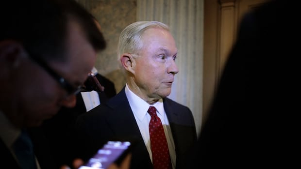 Jeff Sessions talks with reporters after being confirmed by the Senate on February 8th, 2017.