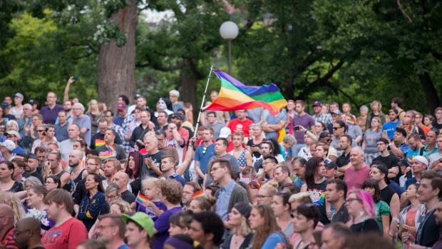A Minneapolis vigil following the Pulse massacre.