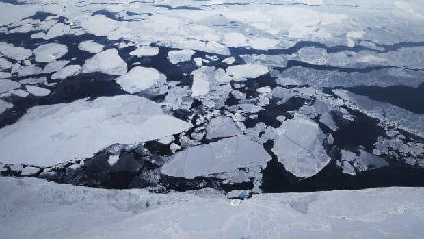 Sea ice is seen from NASA's Operation IceBridge research aircraft off the northwest coast above Greenland.