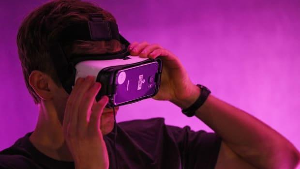 Man wearing a VR headset.