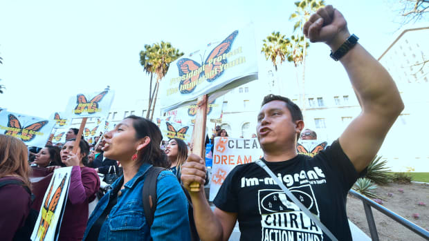 Dreamers and advocates attend a rally in support of a Clean Dream Act in Los Angeles, California, on March 5th, 2018.