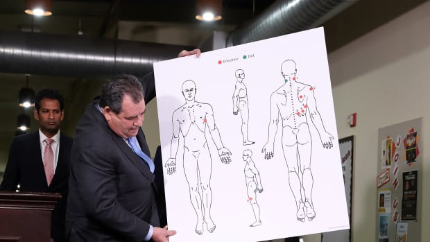 Attorney Brian Panish with image showing gunshot wounds to Stephon Clark in Sacramento, California.