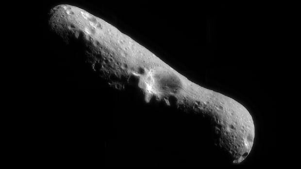 A mosaic image of asteroid Eros.