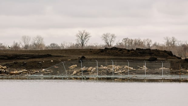 Fairmont City, Illinois: A slag pile on the grounds of the old American Zinc plant, which is now designated as a Superfund site by the EPA.