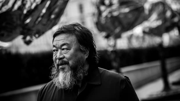 Chinese artist Ai Weiwei attends a gathering with media in front of the Trade Fair Palace run by the National Gallery on February 5th, 2016, in Prague, Czech Republic.