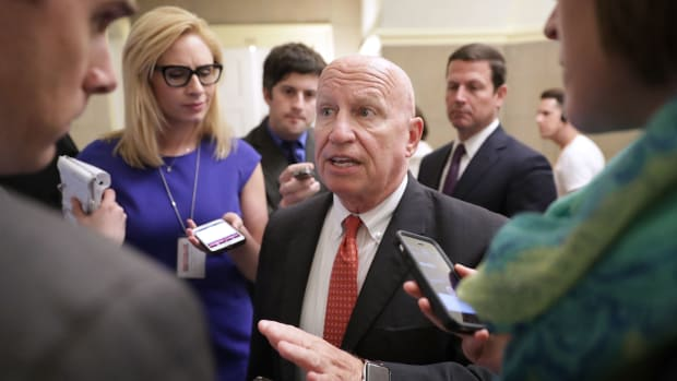 Representative Kevin Brady talks with reporters on May 17th, 2017, in Washington, D.C.