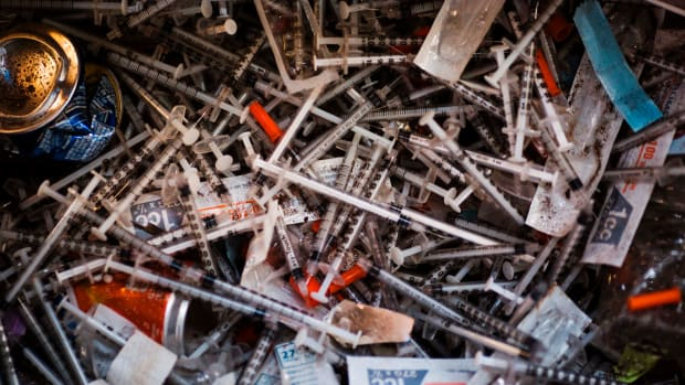 Discarded heroin needles.