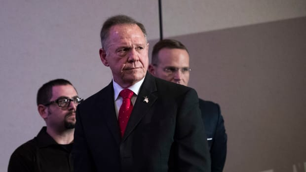 Roy Moore listens to a question during a news conference in Birmingham, Alabama, on November 16th, 2017.