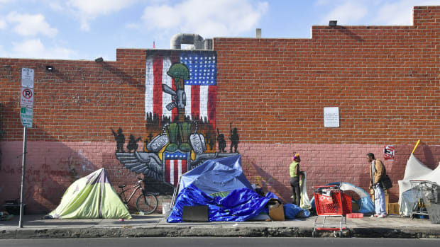 A makeshift homeless encampment in Los Angeles, California.