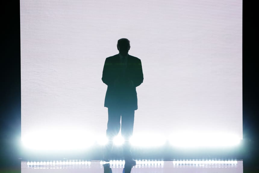 Donald Trump enters the stage at the Republican National Convention on July 18th, 2016, in Cleveland, Ohio.