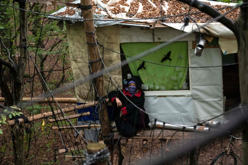 An environmental activist waits in a tree house in the Hambach Forest in western Germany, on September 13th, 2018.