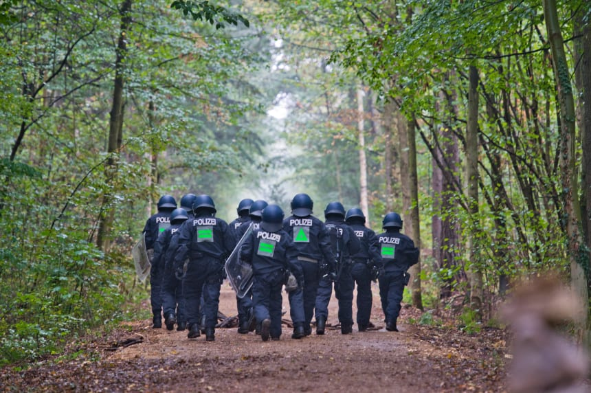 Police forces invade the Hambach Forest to evict activists protesting the expansion of an adjacent open-pit coal mine on September 13th, 2018, near Julich, Germany. The anti-coal activists have been living in tree houses in the forest in an effort to prevent German utility RWE from clearing the last 250 acres of forest.