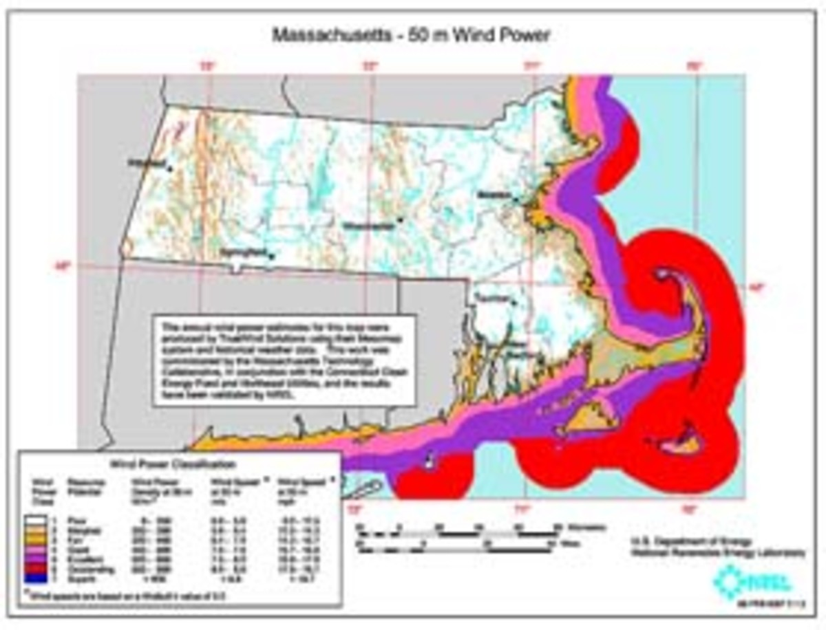 This map shows wind power resources in Massachusetts via the The Cape Wind site, located between Cape Cod to the north and the islands of Nantucket to the south, and Martha's Vineyard, to the west (Wikipedia.org). Click to enlarge.