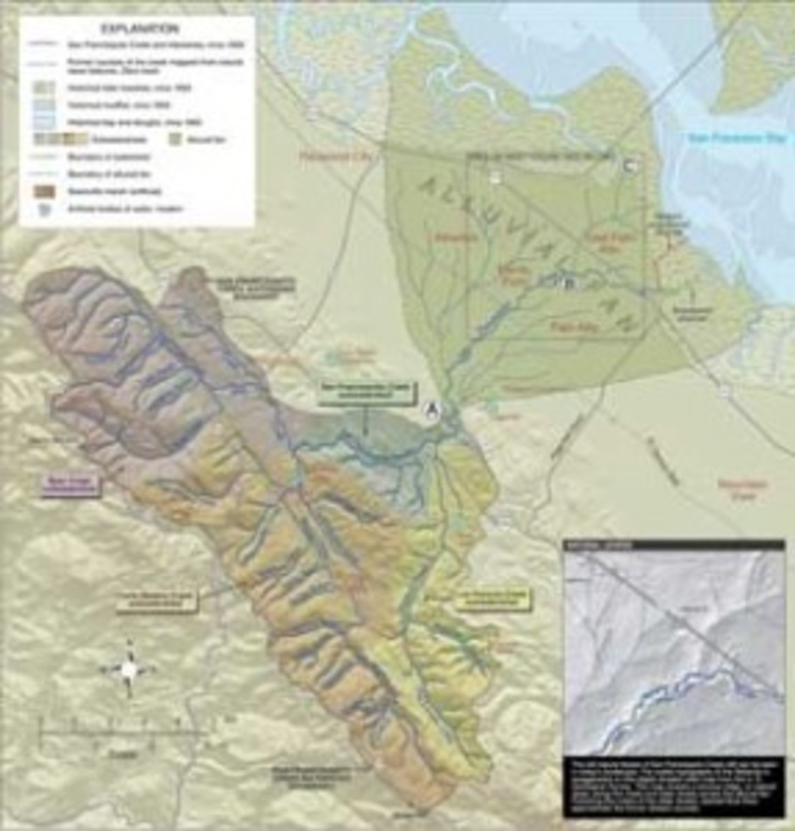A map of the San Francisquito Watershed. (Courtesy Oakland Museum of California). Click to enlarge)