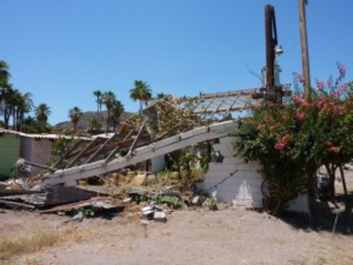 Hurricane damaged home in Mulege, Baja California.