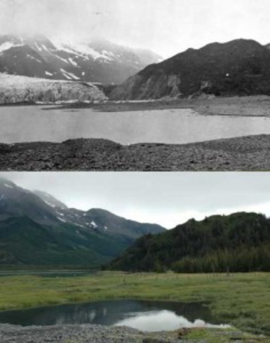 Pederson Glacier in Kenai Fjords National Park, as seen in 1909, top, and 2005. (National Park Service)