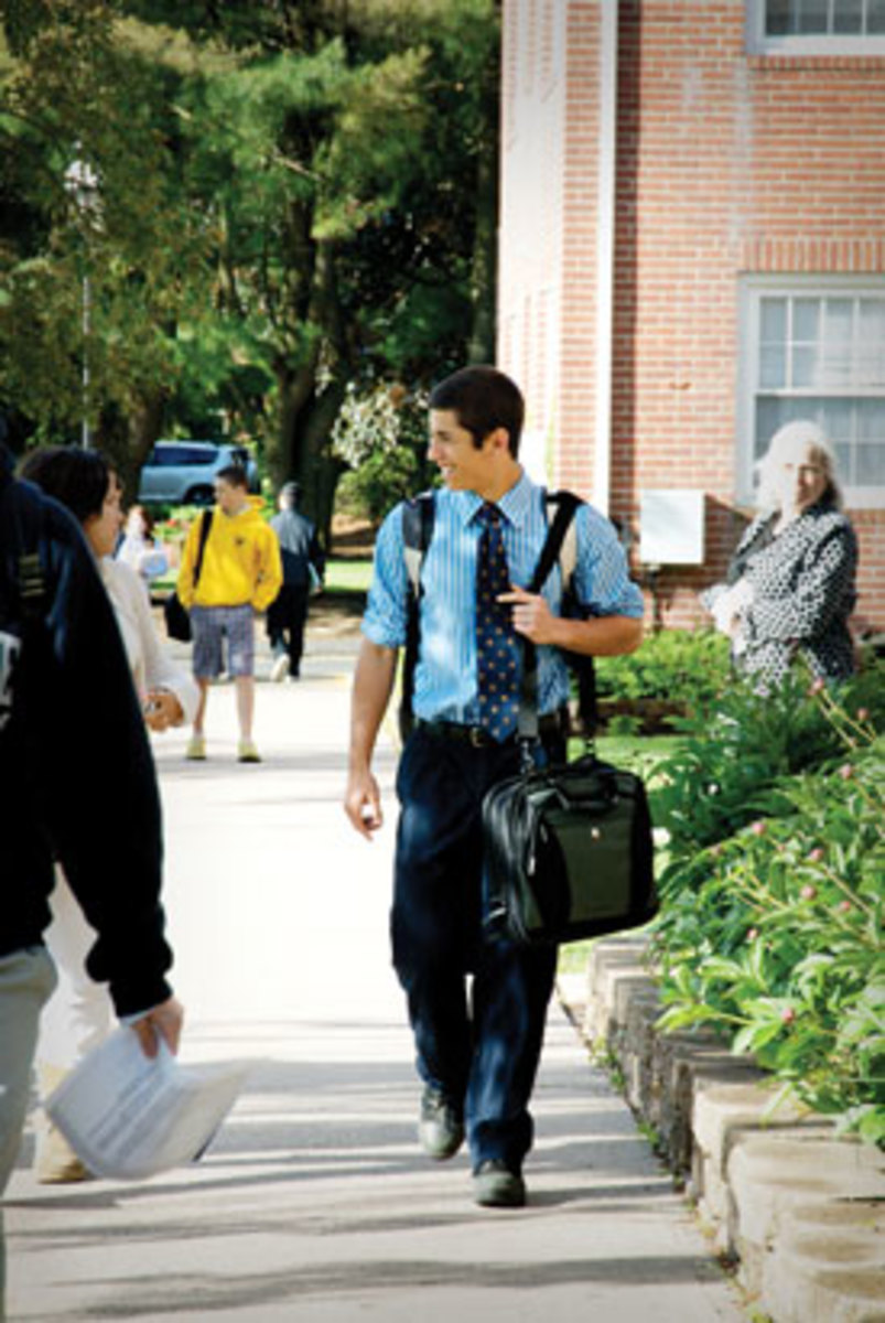 8 a.m. — Ethan on his way to class at Cheshire Academy. (Gale Zucker)