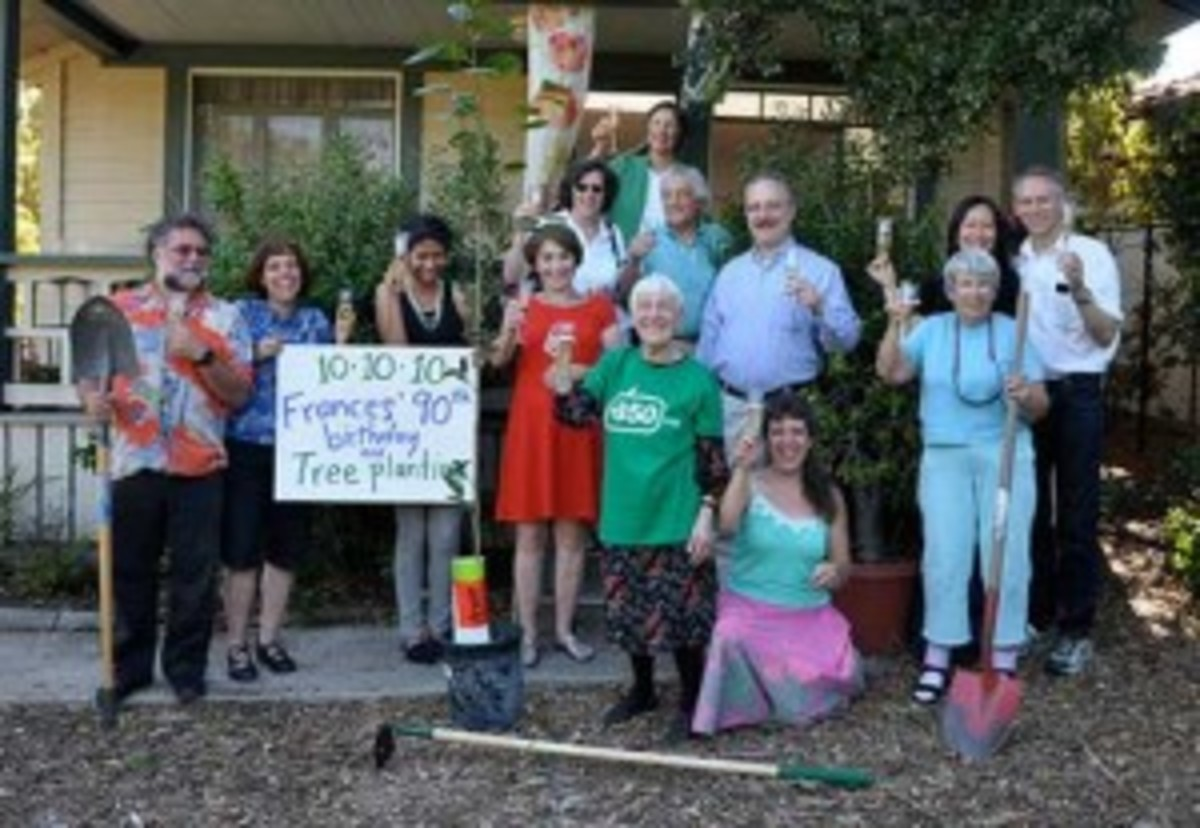 Oct. 10, 2010 marked the occasion of Frances' (she's in the green shirt) 90th birthday, so she planted trees with friends. (Courtesy 350.org)
