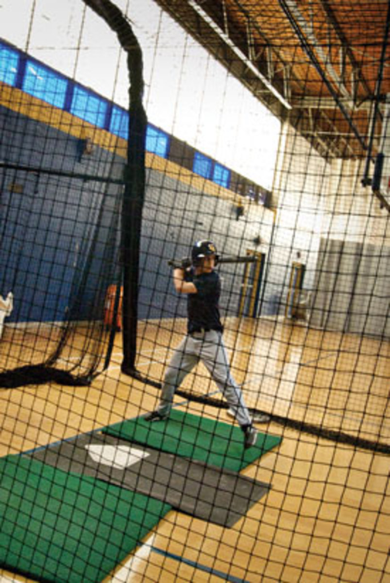 4 p.m. — Ethan takes batting practice. (Gale Zucker)
