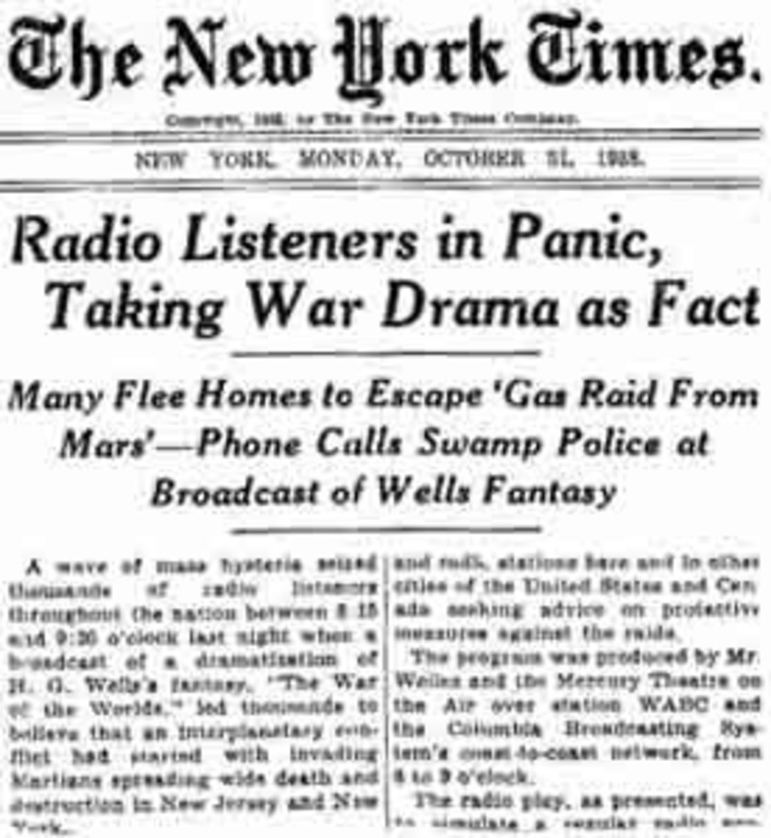 "The New York Times edition chronicling the hysteria after the Orson Welles broadcast of ""War of the Worlds."""