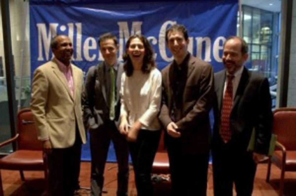 From left, Sree Sreenivasan, Dalton Conley, Rachel Sklar, Eric Klinenberg and John Mecklin.