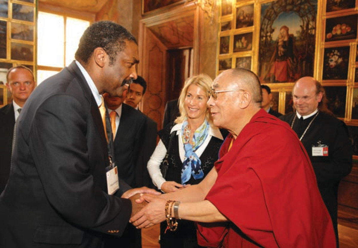 Strickland meets the Dalai Lama at the Waldzell Institute in Vienna. (Courtesy of Waldzell Institute)