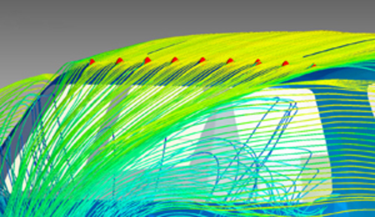 Streamlines from a computational aerodynamic study show how GasPods affect airflow over a car.