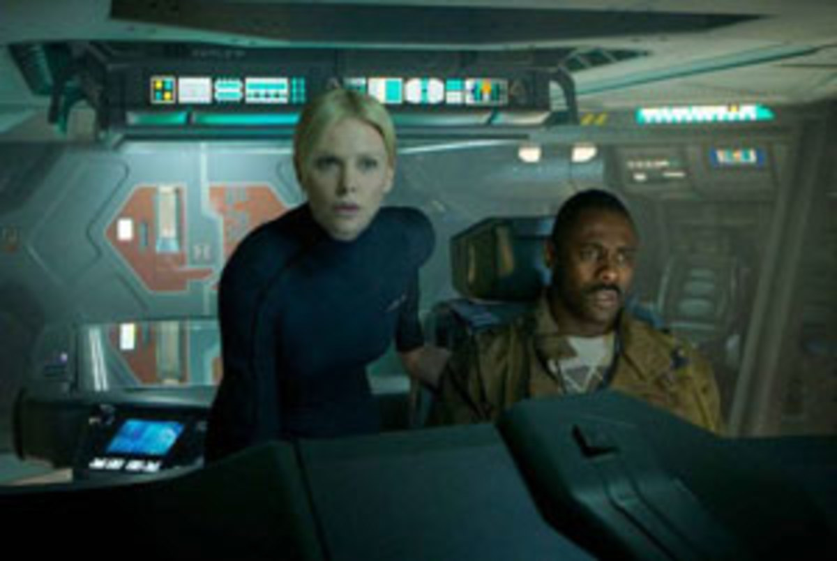 Charlize Theron and Idris Elba in a scene from the new movie 'Prometheus.'