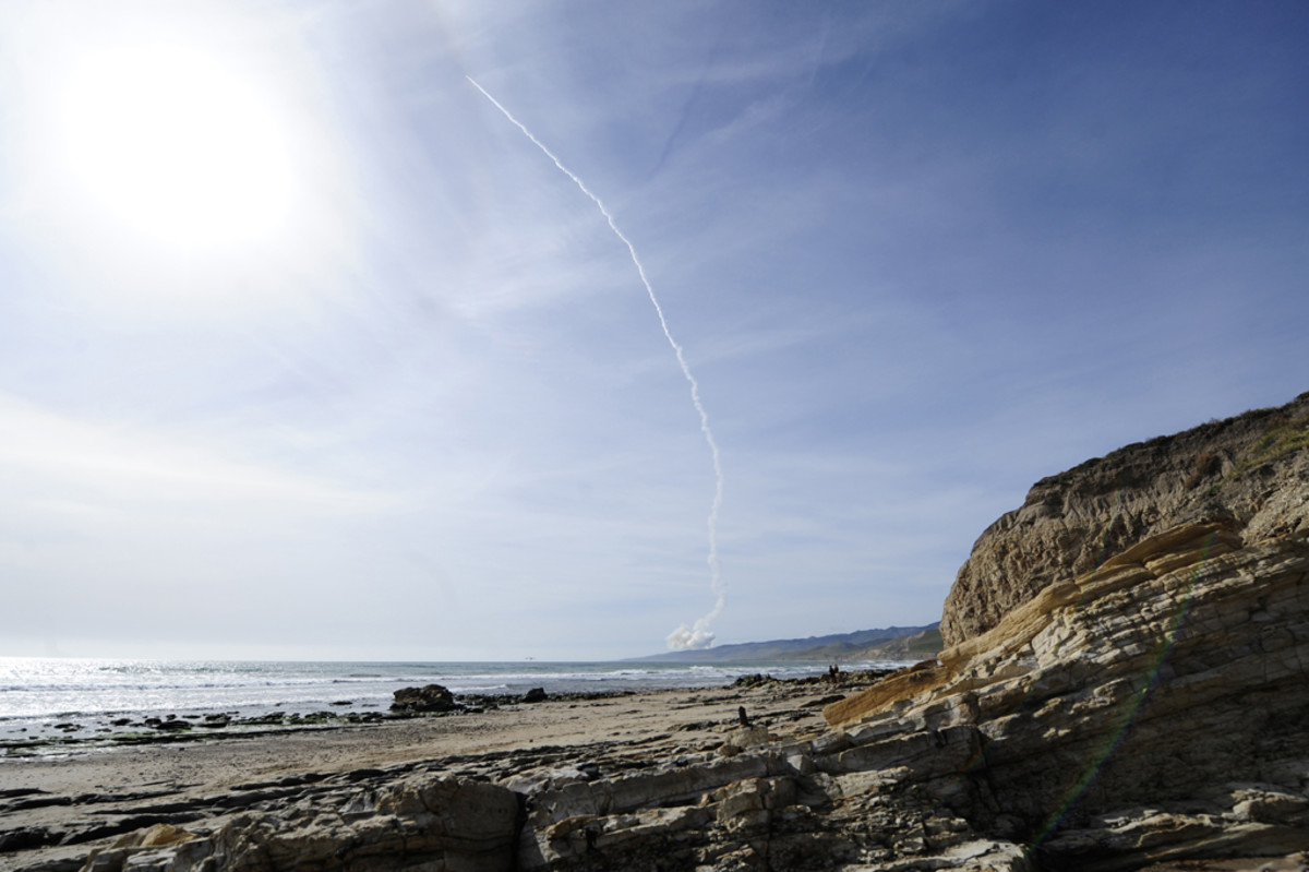 A Delta IV Medium+ flies from Vandenberg Air Force Base on April 3, 2012. (U.S. Air Force photo by Staff Sgt. Andrew Satran)