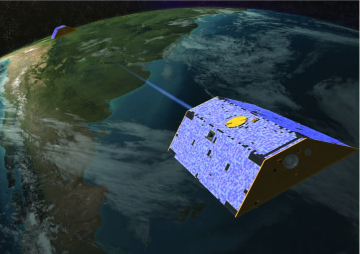 An artist's conception of Tom and Jerry communicating their distance from each other while orbiting the Earth. (University of Texas Center for Space Research and NASA)