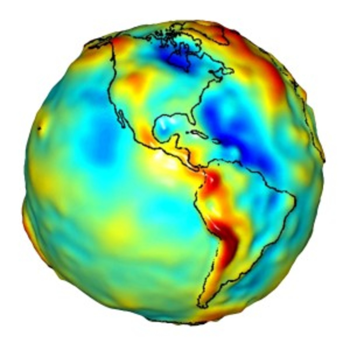 Gravity map of the Americas derived from data collected by GRACE. (University of Texas Center for Space Research)