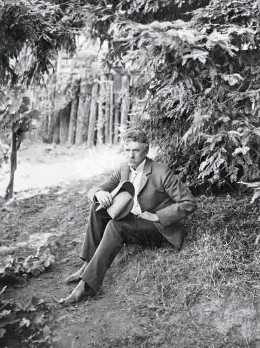 Acerbic muckraking journalist Ambrose Bierce circa 1896, the year he took on the Central Pacific Railroad. (Image from Bettmann/CORBIS)