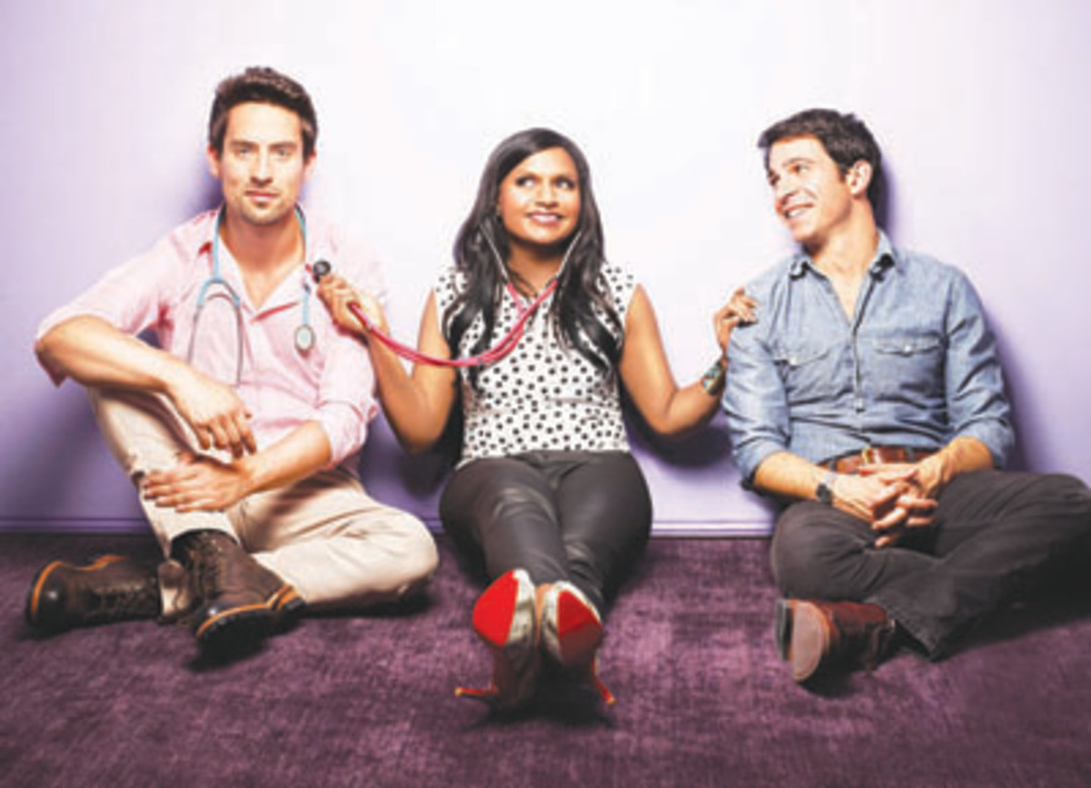 "Mindy Kaling, center, stars in her self-named sitcom ""The Mindy Project"" as an  OB/GYN looking for perfection both professionally and personally. Co-starring are  Chris Messina, right, and Ed Weeks. (Photo by Autumn De Wilde/FOX)"