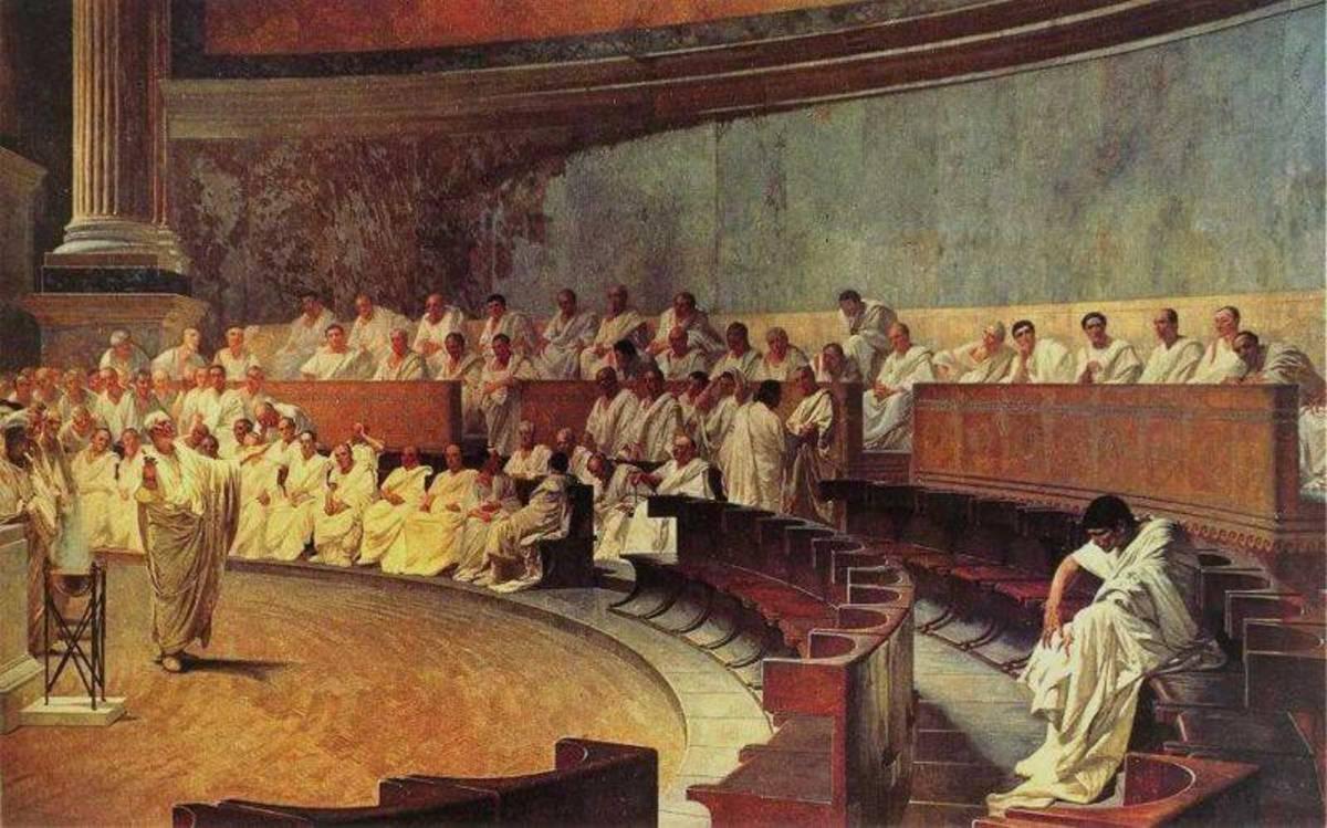 """Cicero Denounces Catiline,"" a painting by Cesare Maccari"