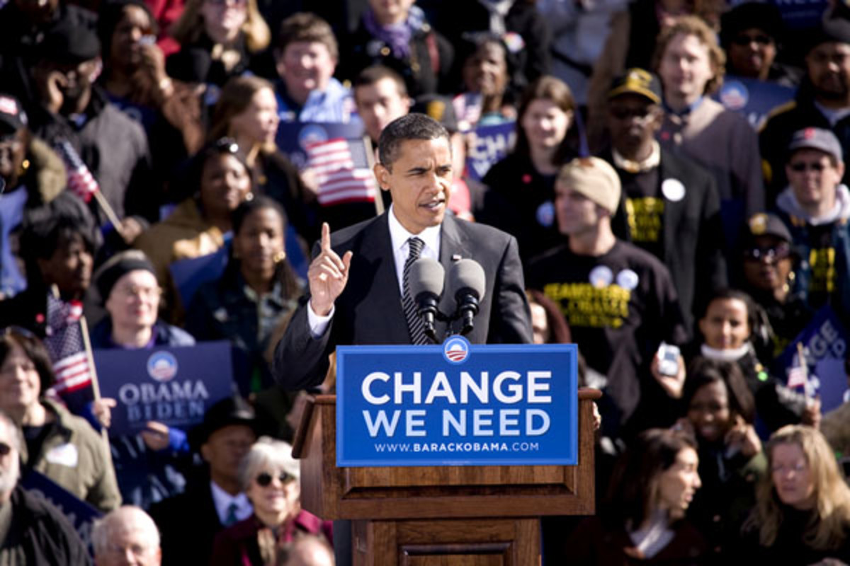 Barack Obama at a presidential rally in Raleigh, North Carolina on October 29, 2008 (PHOTO: SHUTTERSTOCK)