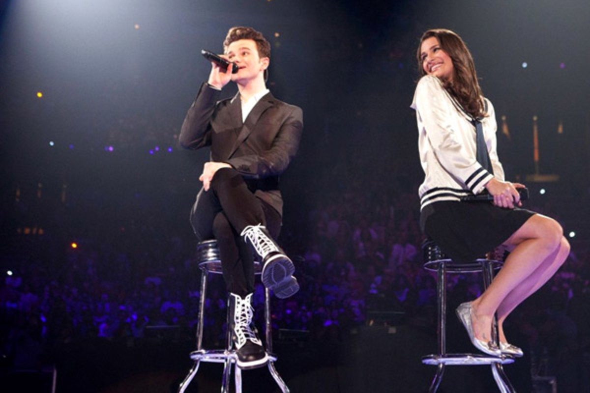 Chris Colfer as Kurt and Lea Michele as Rachel in 'Glee'