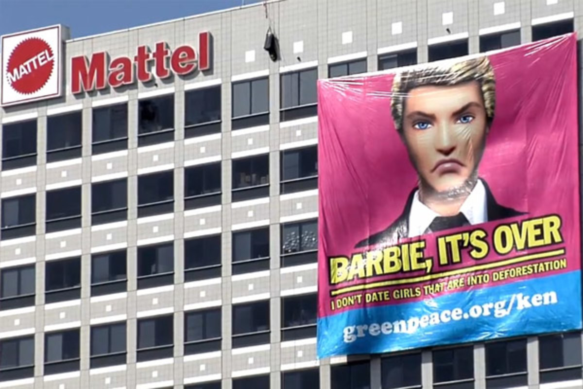 Greenpeace tags Mattel headquarters in a still from one of their videos protesting the toy company's association with Indonesian paper producer Asia Pulp and Paper