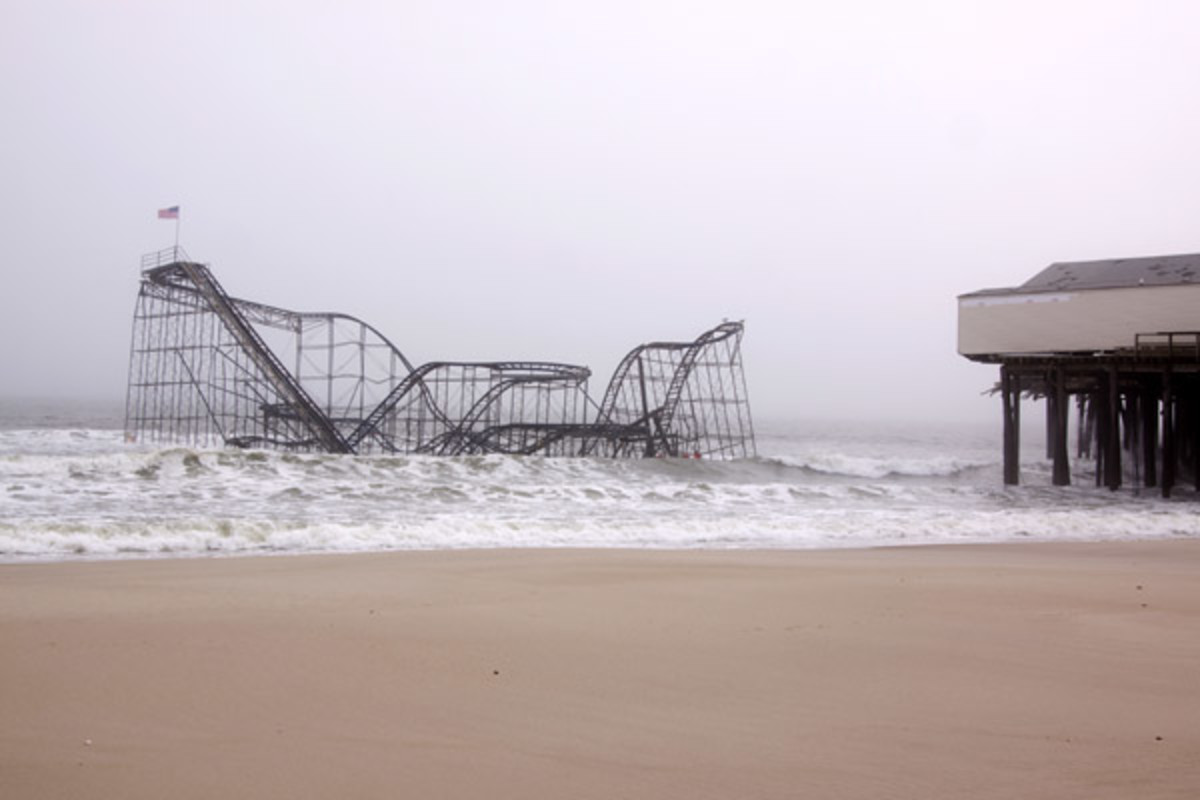 The Casino Pier Star Jet roller coaster submerged in the sea on January 13, 2013 in Seaside Heights, NJ. (PHOTO: <a href=