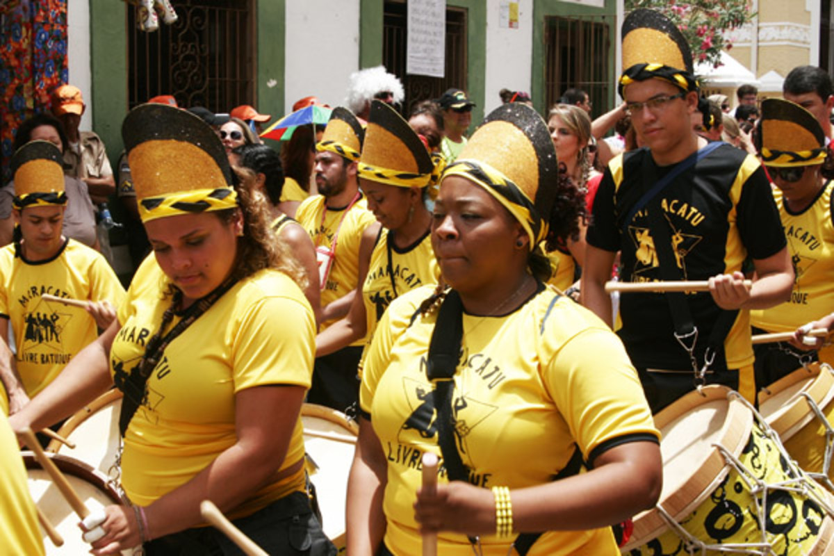 Paraders at the 2012 frevo carnival in the old town of Olinda, Brazil (PHOTO: ADAM GREGOR/SHUTTERSTOCK)