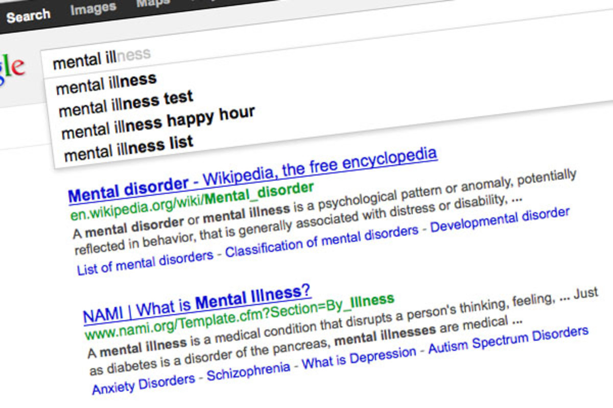 Searching for mental illness. (SCREENSHOT)