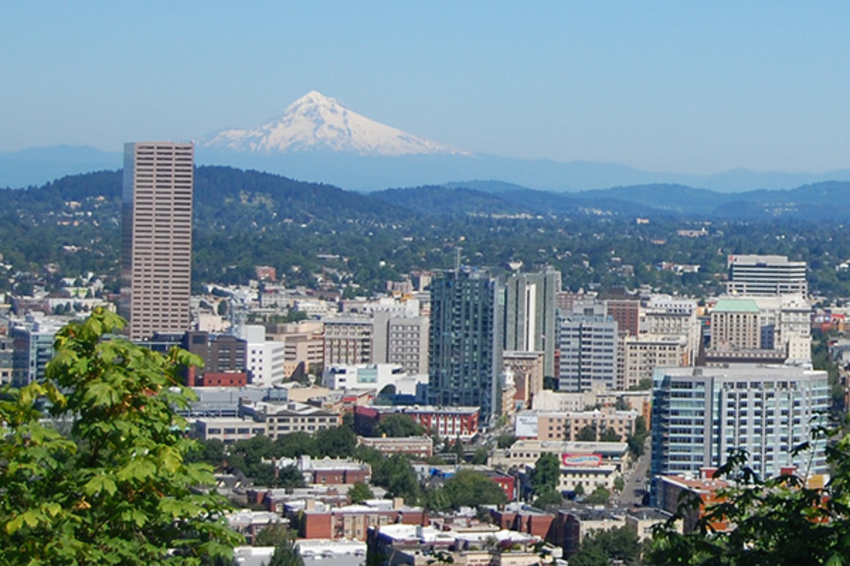 Portland's skyline from the west, with Mount Hood on the left. (PHOTO: AMATERIA1121/WIKIMEDIA COMMONS)