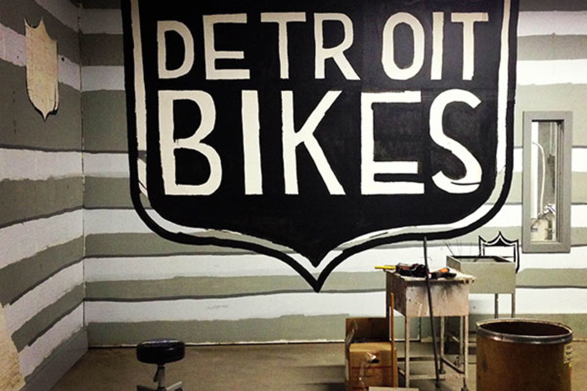 The in-progress Detroit Bikes lobby.