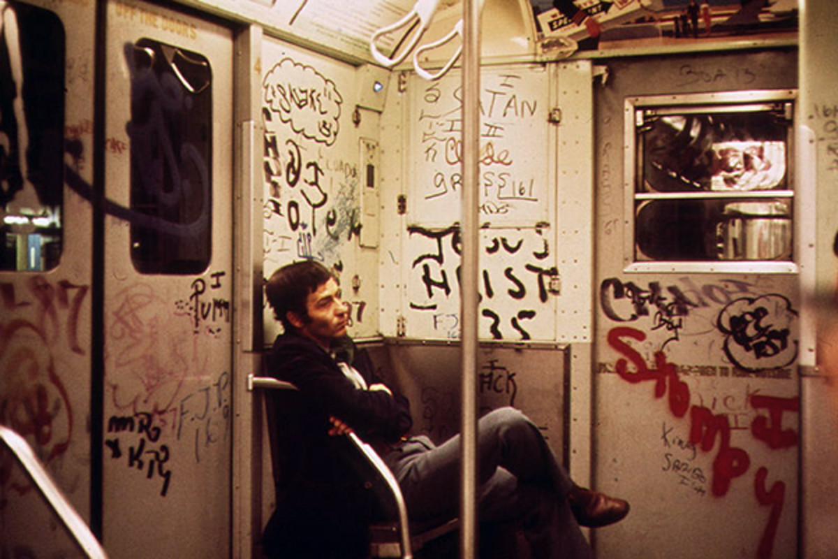 Heavily graffitied subway car in New York City in 1973. (PHOTO: PUBLIC DOMAIN)