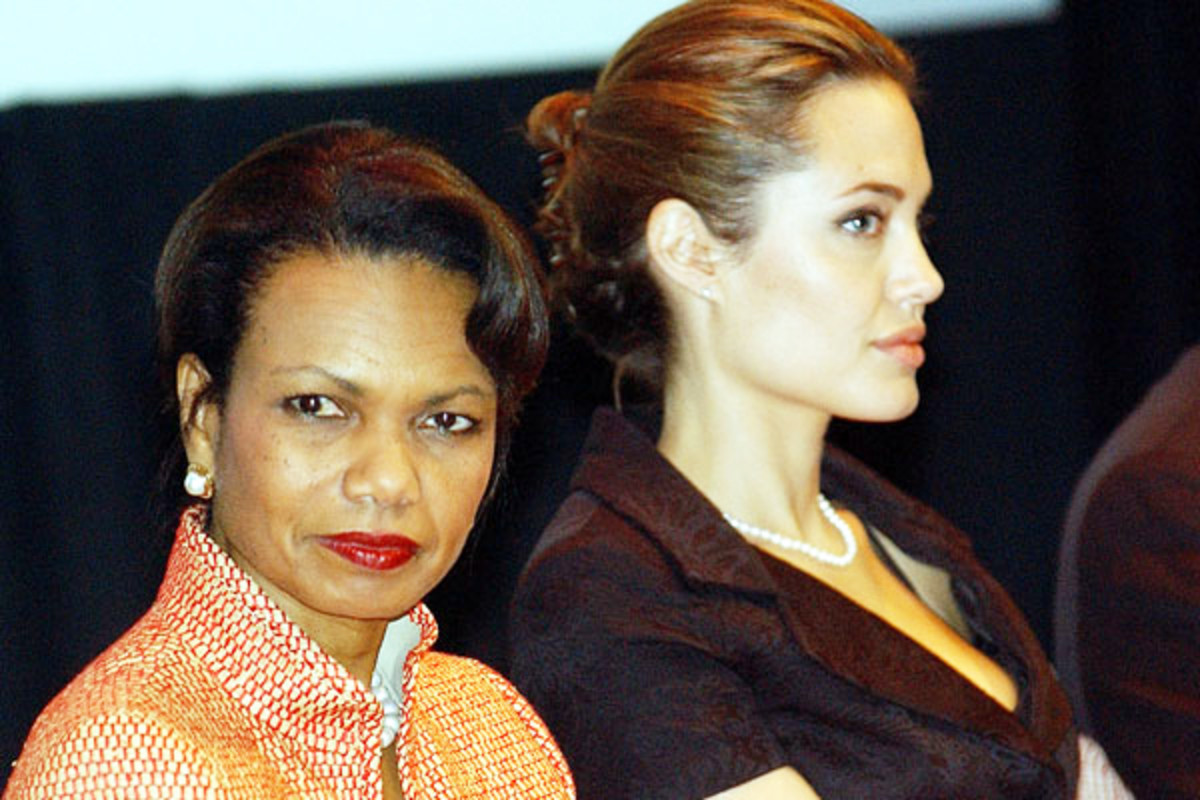 Secretary of State Condoleezza Rice and Angelina Jolie at World Refugee Day in 2005. (PHOTO: PUBLIC DOMAIN)