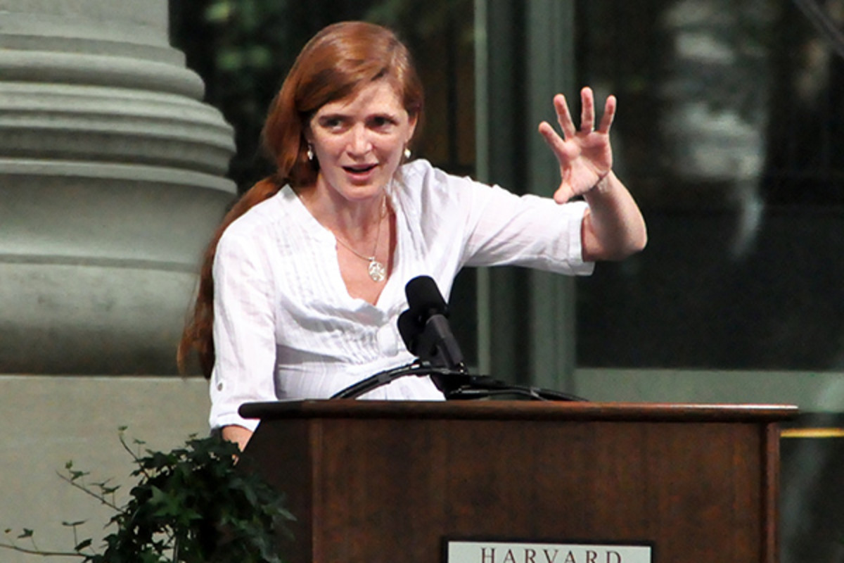 Power speaking at Harvard Law School's Class Day in 2010. (PHOTO: CHENSIYUAN/WIKIMEDIA COMMONS)