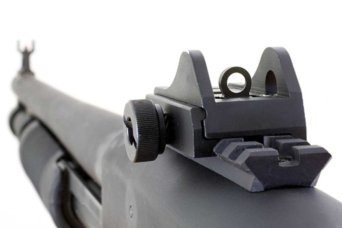 Rear peep sight on a black shotgun. (PHOTO: GUY J. SAGI/SHUTTERSTOCK)