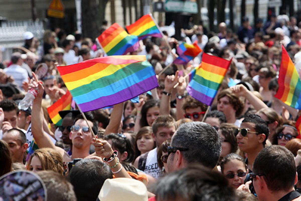 Paris Gay Pride parade to support gay rights, on June 26, 2010. (PHOTO: OLGA BESNARD/SHUTTERSTOCK)