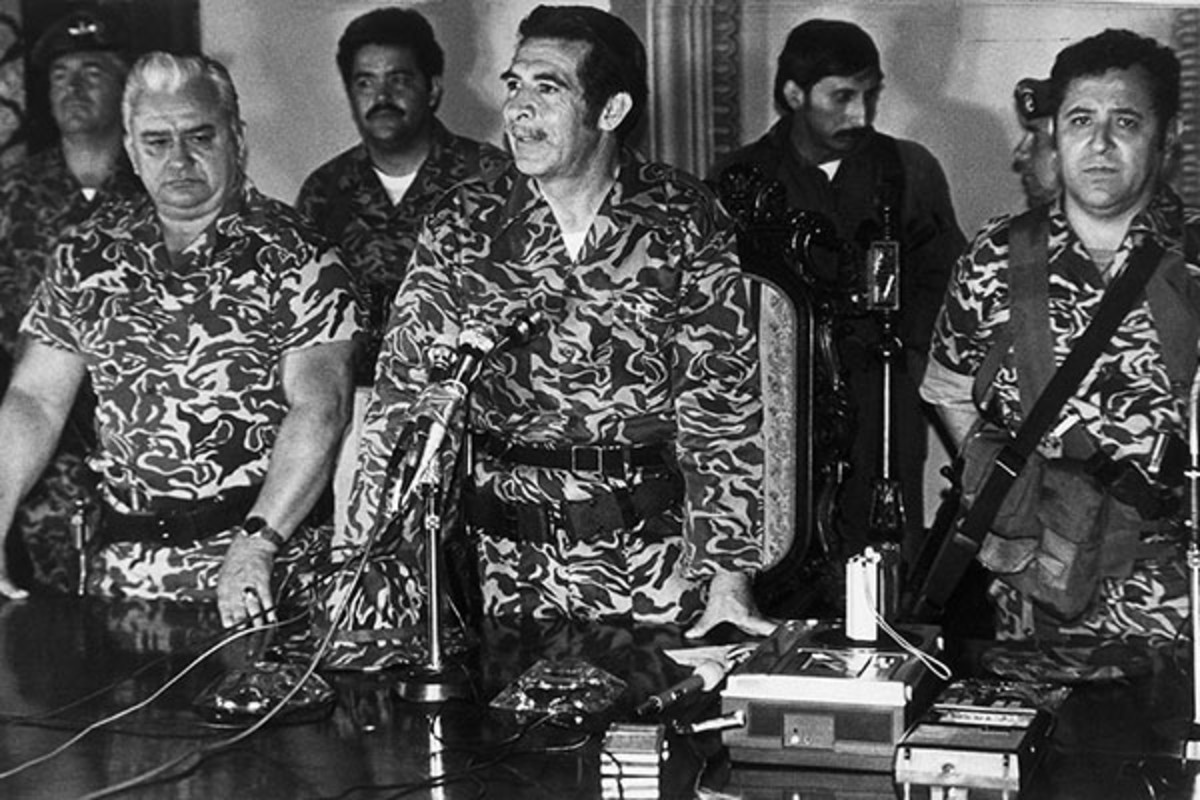 General Efraín Ríos Montt (center) announces his military coup, Guatemala, 1982. (PHOTO: BETTMANN/CORBIS)
