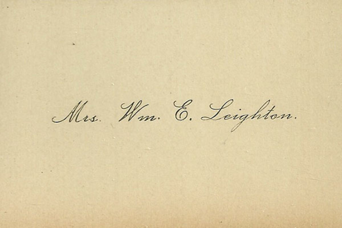The calling card of Mrs. William Eldon Leighton of Pembroke, Maine. (PHOTO: PUBLIC DOMAIN)